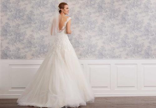 Brautkleid in Nude im Prinzessschnitt mit Tüllrock, bestickter Spitze, Strassgürtel und Sweetheart-Ausschnitt von Lilly, Modell 08-4020, Rückenansicht