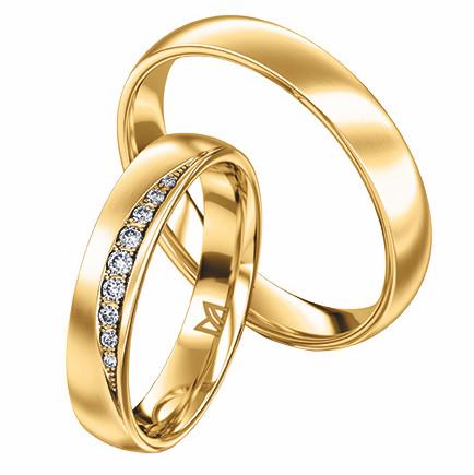 Damenring und Herrenring in Gelbgold 750 von Meister