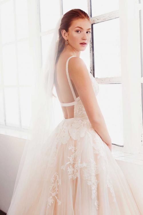 Nudefarbenes Brautkleid im Prinzessschnitt mit 3D-Spitze, V-Ausschnitt und raffiniertem Rücken von Passions by Lilly, Modell 08-4095, Rückenansicht