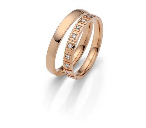 filigrane Trauringe aus Roségold mit Diamanten