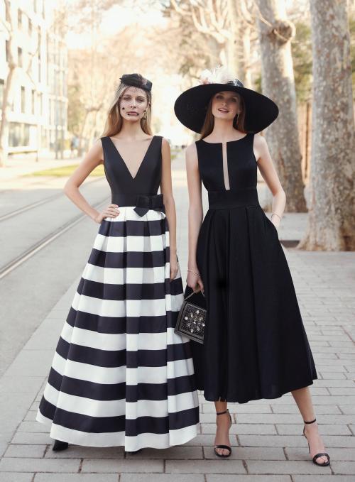 Langes und Midi-Kleid von Fara Fiesta in Schwarz/Weiß