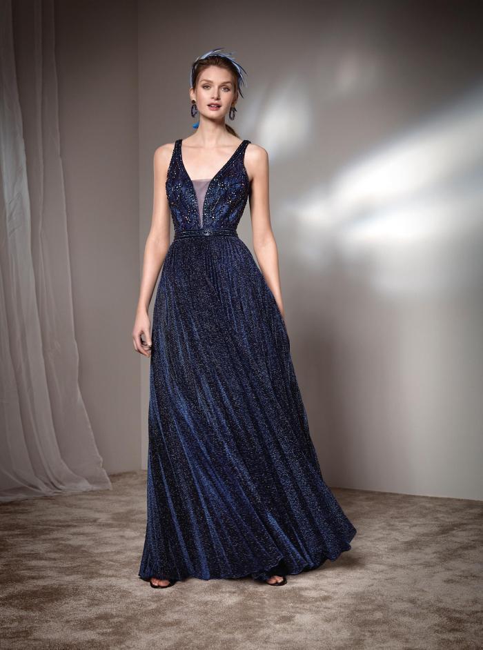 Langes Glitzer-Kleid mit Plunge-Ausschnitt von Fara Fiesta in Blau