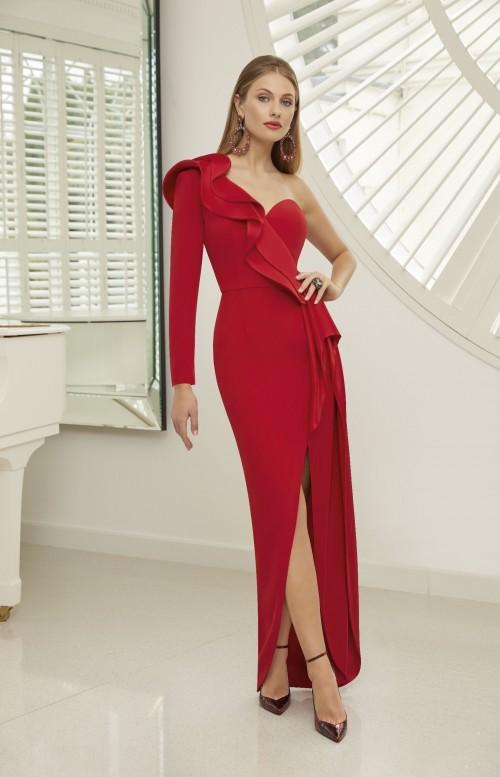One-Shoulder-Kleid mit Rüschen und Beinschlitz von Ronald Joyce in Rot
