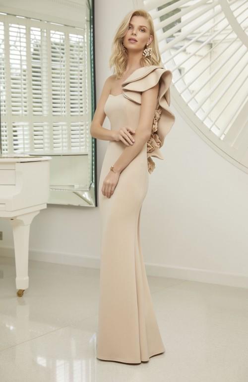 One-Shoulder-Kleid mit Rüschen und Sweetheart-Ausschnitt von Ronald Joyce in Creme