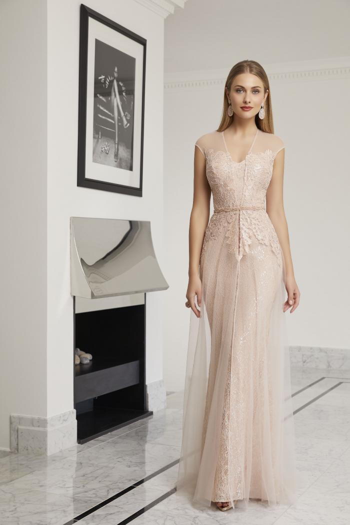 Fit-and-Flare-Kleid mit Pailletten von Ronald Joyce in Blush