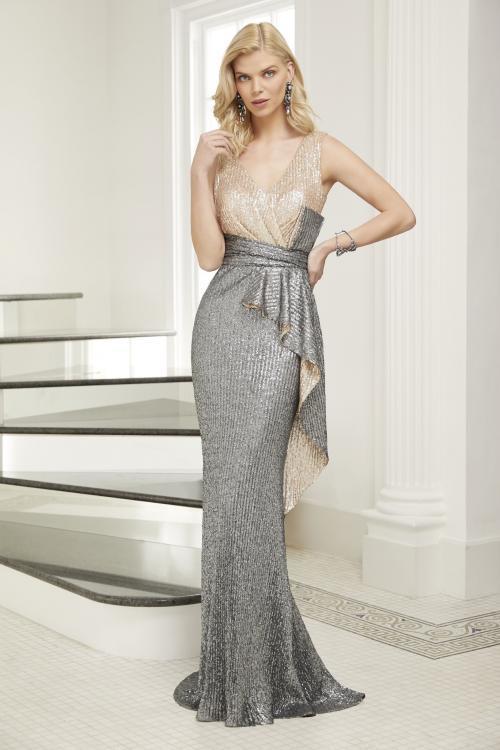 Kleid in Zweiteiler-Optik mit Pailletten von Ronald Joyce in Gold/Silber