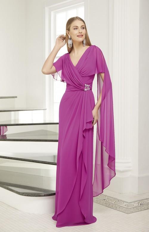 Langes Kleid mit überkreuztem V-Ausschnitt von Ronald Joyce in Lila