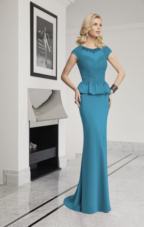 Fit-and-Flare-Kleid mit Illusion-Ausschnitt von Ronald Joyce in Blaugrün