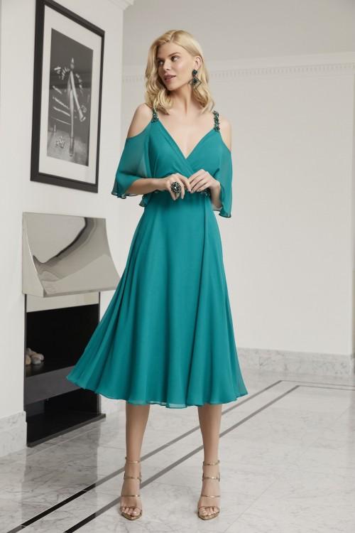 Off-the-Shoulder-Kleid mit Trägern und Taillengürtel von Ronald Joyce in Grün