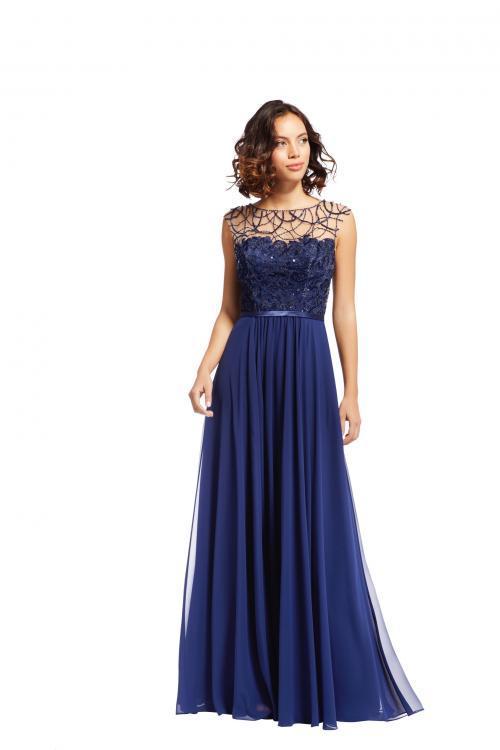 Langes Kleid mit Chiffon-Rock und Glitzertop von Fara Fiesta in Blau