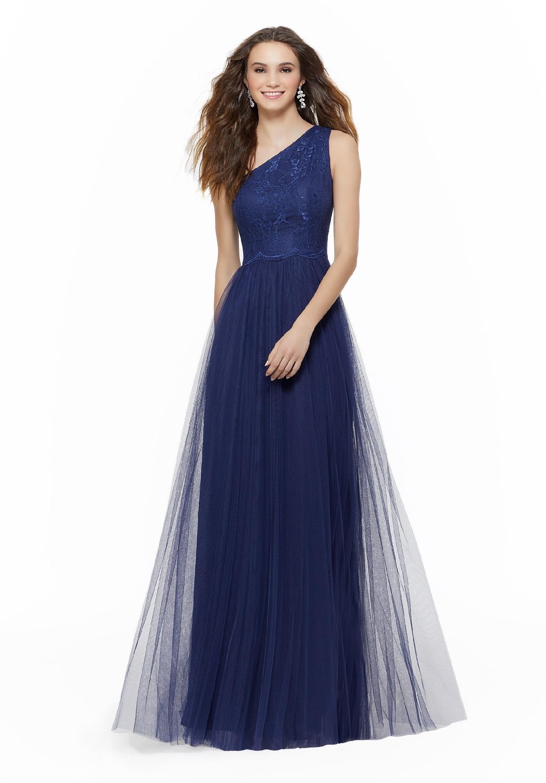 One-Shoulder-Kleid mit Tüllrock und Spitze von Morilee ...