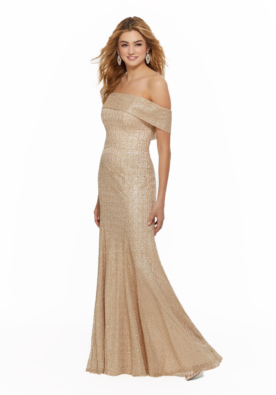 Off-Shoulder-Kleid mit Pailletten von Fara Fiesta in Gold