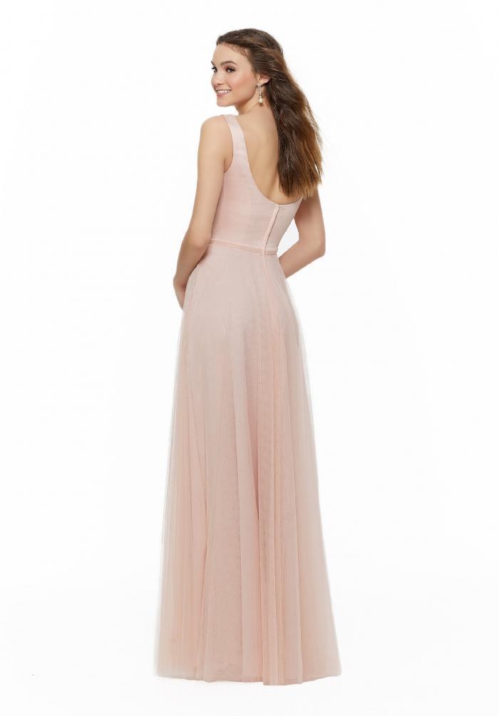 Langes Kleid mit U-Neck-Ausschnitt und Tüllrock von Fara Fiesta in Rosa