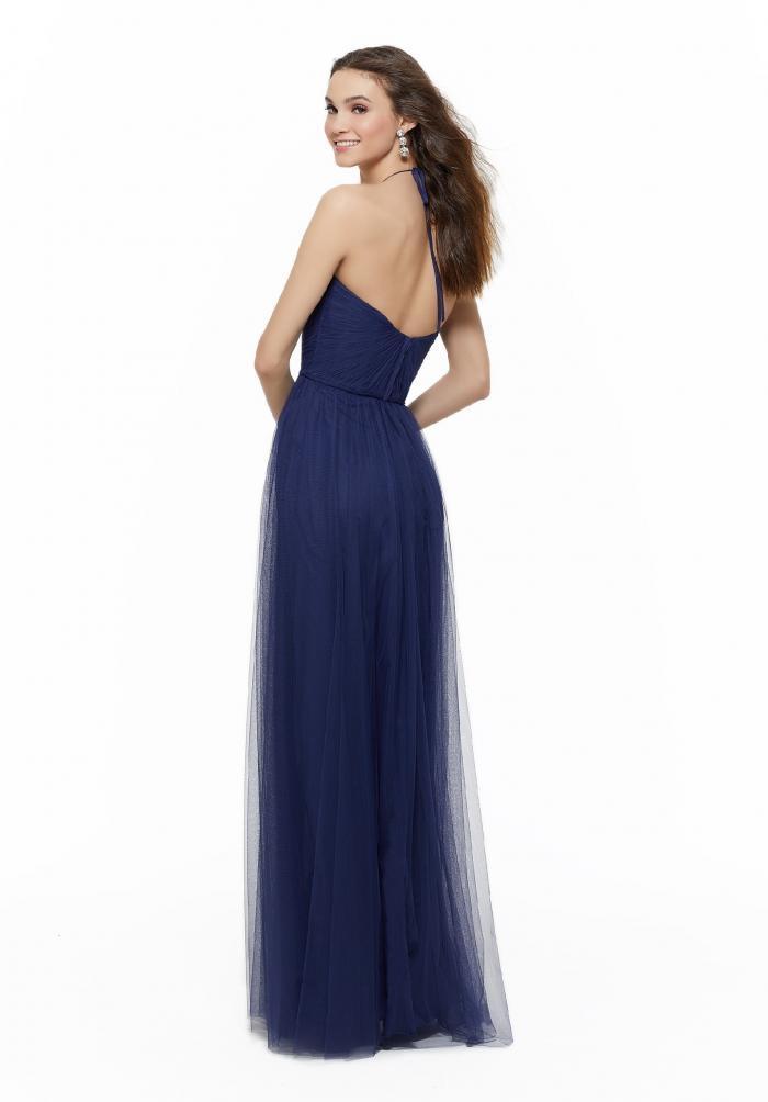 Langes, blaues Kleid mit Sweetheart-Ausschnitt aus Tüll von Fara Fiesta