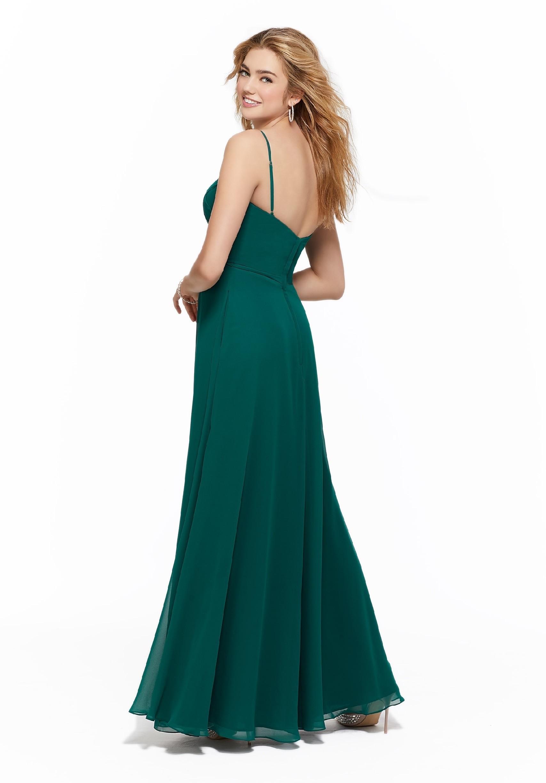 Langes Kleid mit Bandeau-Ausschnitt und Empire-Schnitt von Fara Fiesta in Grün