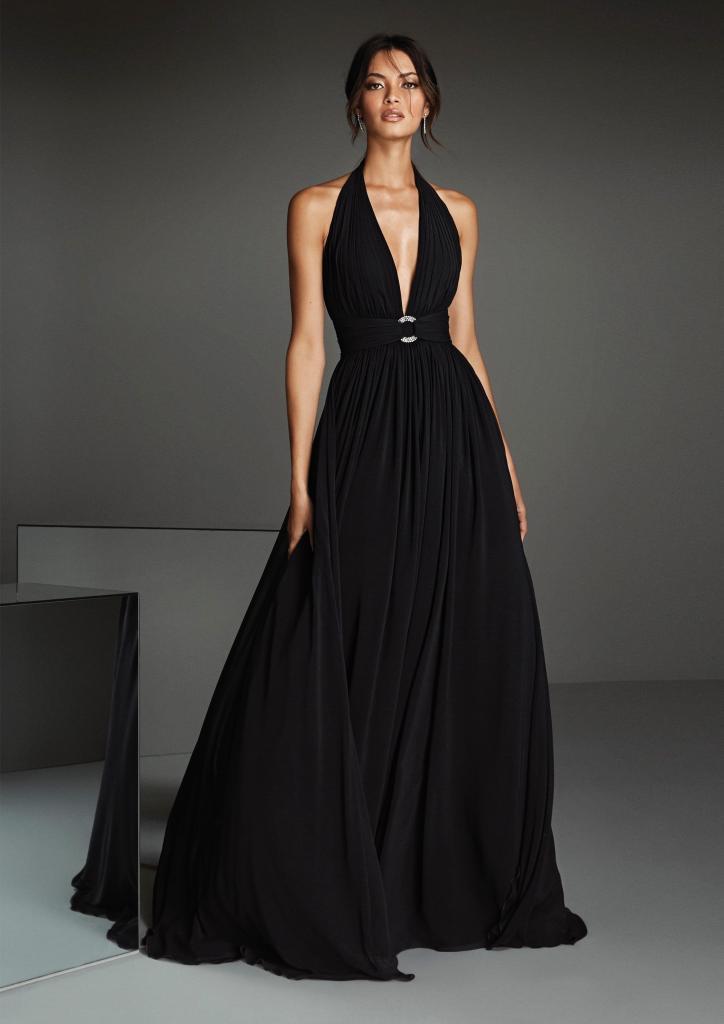 Langes Kleid mit figurbetontem Oberteil und tiefem