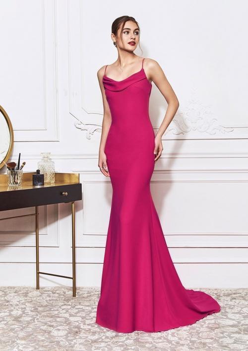 Kleid im Meerjungfrau-Stil mit Wasserfallausschnitt von St.Patrick in Pink
