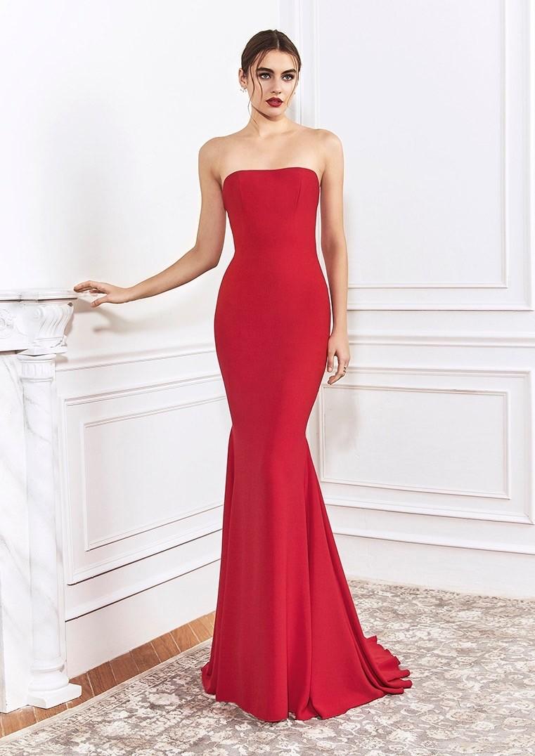 Kleid im Meerjungfrau-Stil mit schulterfreiem Dekolleté von St.Patrick in Rot