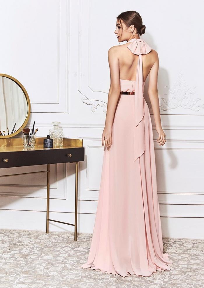 Kleid in A-Linie mit bezauberndem Neckholder-Ausschnitt und großer Schleife im Nacken von St.Patrick in Rosa