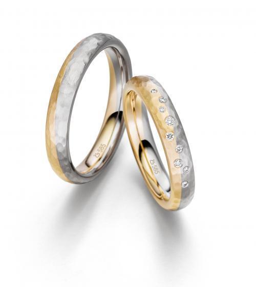 Bicolor-Trauringe aus Gelbgold und Weißgold mit Diamanten